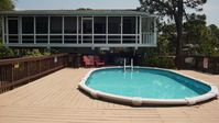 Bottoms Up - private pool, boat dock, & porches galore. 1.5 blocks to the beach.
