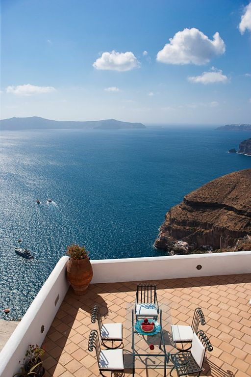 Thira (Fira) villa rental - Villas terrace with fantastic views