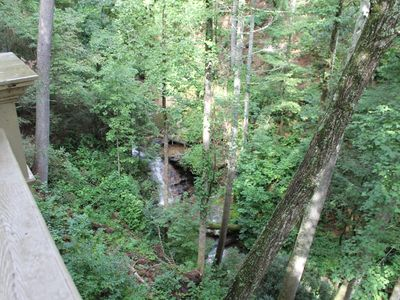 View of waterfall from porch on main level