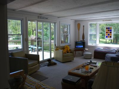 Family Room and View to Back Deck, and Shaded Yard.