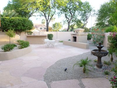 Your Large Private Flagstone Patio with BBQ, KIVA & Fountain.