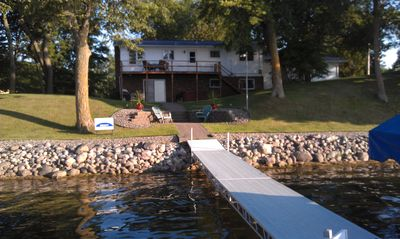 View from the dock. Hot tub is right of the sliding patio door