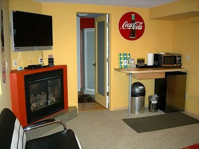 Cozy gas fireplace, HDTV/DVD and Kitchenette with microwave and refrigerator
