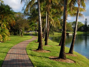 Private walking path that leads along the lakes edge