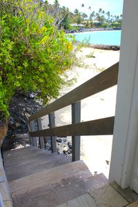 Steps down to the beach from the deck