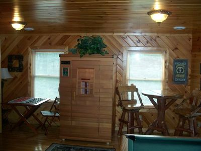 Classic Mountain Pub Table, Private Infrared Sauna, Card Table