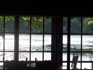Lake Hortonia cabin photo - Summer view from the living room table, watch the fire, or morning coffee