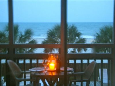 Gorgeous oceanfront view from screened-in porch; terrific for oceanfront dining