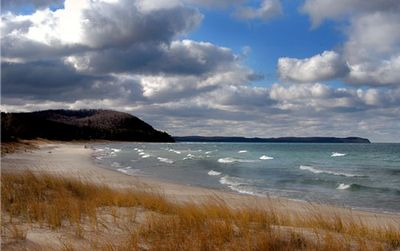 Leland cottage rental - The beach on a windy day, looking towards Whaleback