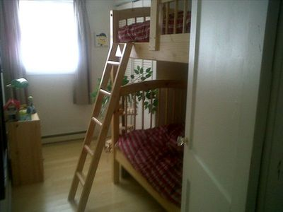 Fun bunkbed room for the kids. Closet full of childrens toys and books.