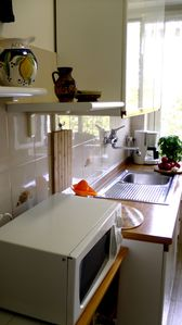 Microwave oven in kitchen