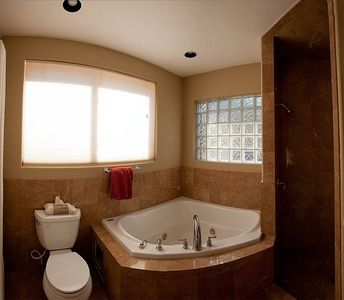 Granite shower and amazing views outside the top down bottom up blinds