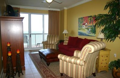 Living Area off Balcony with Custom Drapery