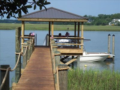 Short boardwalk to water and dock!!!