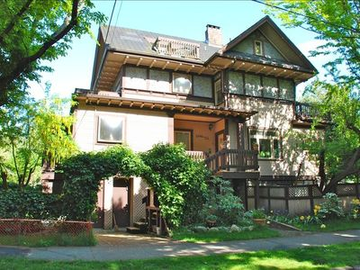 Wonderful 1912 craftsman style home.  This is the garden apartment with patio