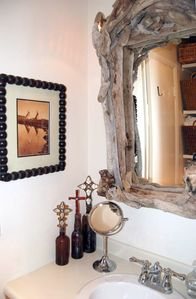 driftwood mirror in bathroom