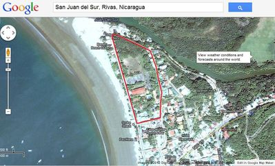 San Juan del Sur condo rental - Aerial view of our property. VERY LARGE beachfront property in the heart of SJDS