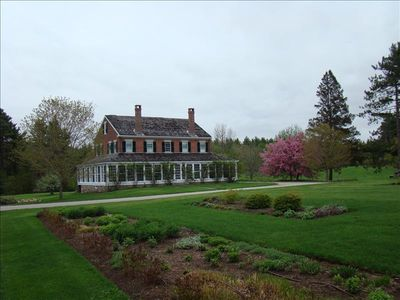 View of front of house from formal gardens (early spring)
