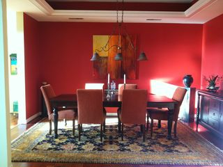 Dining Room with Tray Ceiling, Adjustable Lighting and Seating for 6-8