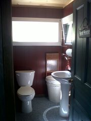Bathroom - Shower Stall, new pedestal and toilet. - South Hero cottage vacation rental photo