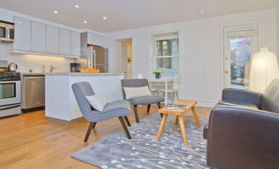 Brooklyn apartment rental - living room with open kitchen