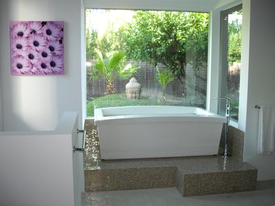 Gorgeous designer tub in master bath.