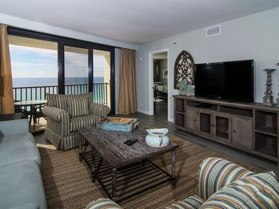 Coastal Living Room with Flat Panel TV
