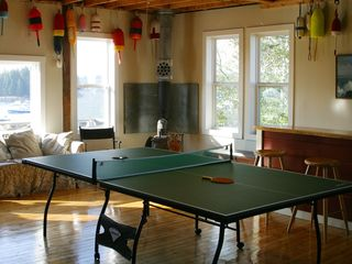 Port Clyde cottage photo - Gameroom has bar, ping pong and large picture window with abundant ocean views