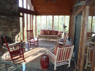 Screened-in porch in the morning