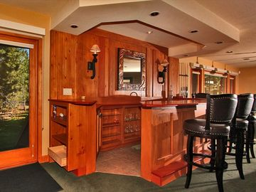 Bar in the media/game room direct access to spa, deck, yard, and Lake Tahoe