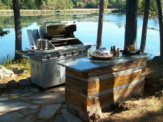 Thousand Islands cabin photo - Outdoor deck and BBQ kitchen area