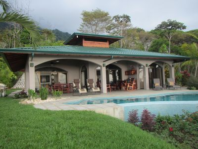 Ocean side of the main house with infinity pool overlooking butterfly garden.