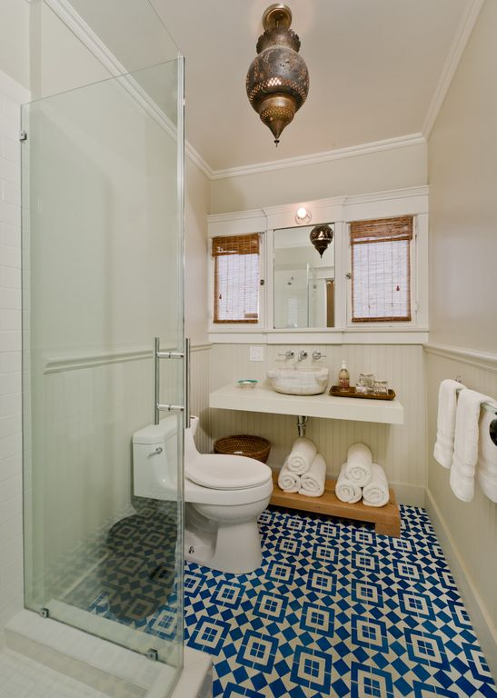 second bathroom, glass shower, moroccan tile