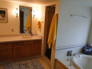 Ascutney farmhouse photo - Bathroom with double sinks, jetted tub, and large shower