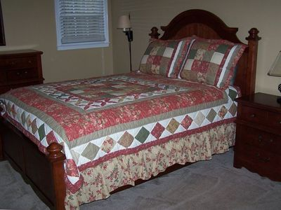 Upstairs 2nd room. Quality, comfortable bedding, tastefully decorated.