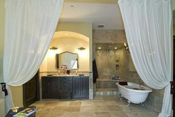 master en suite, double vanity, claw foot tub, steam shower, rain shower head