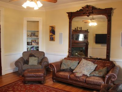 Comfortable Family Room-original built in mirror