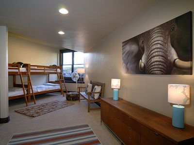 Basalt house rental - 5th bedroom with four twin bunk beds. Attached bathroom, large walk in closet.