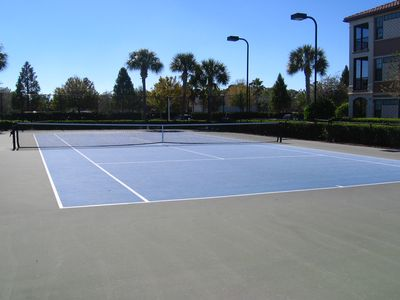 Lighted Tennis Court inside gated community