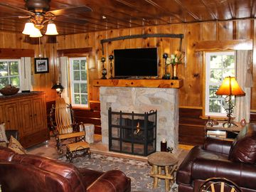 Lake Arrowhead cabin rental - Historic Hershey Cabin with knotty pine/redwood walls, hand hewn stone fireplace