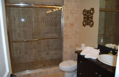 Master Bath with Tile Shower and Granite Sink