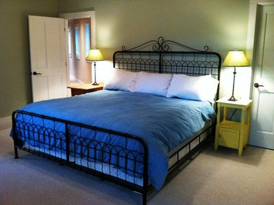 Master Upstairs, king bed. Twin in sitting rm. Private bathroom, walk in closet