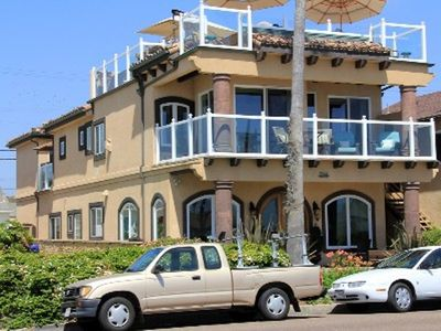Oceanside villa rental - Villa frnt w/large rooftop deck & deck off Master suite. Parking passes provided