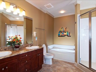 Master Bath, Enclosed Shower, Tub, Duel vanities, Walk-in Closet