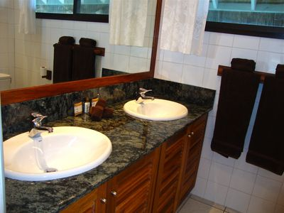 A Five Star Bathroom with granite and native wood!