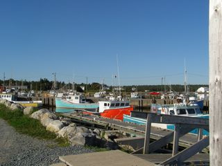 Port Mouton cottage photo - Colourful lobster boats tied at the causeway wharfs. Great for photos.