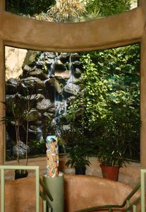 Waterfall and grotto garden view from the inside