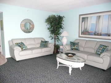 Newly furnished living room where you can relax, or check your email with wi-fi.