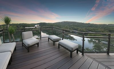 Deck off of living room overlooking Lake Austin and Downtown