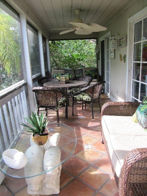 Large outdoor patio with new furniture